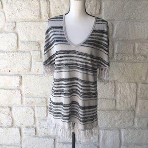 Chaser Black & Cream Boho Fringe Sweater Top